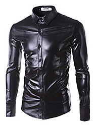 Men's Sexy/Fashion/Casual/Work/Formal/Plus Sizes Night Club Design Pure Long Sleeve Shirt (Faux Leather/Sequin)