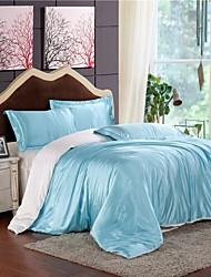 Mingjie gelo de água de seda azul e branco de cama conjuntos lixar 4pcs define capa de edredão queen size e king size