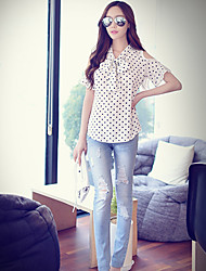 De las mujeres Camisa Escote Chino - Licra/Poliéster - Manga Corta