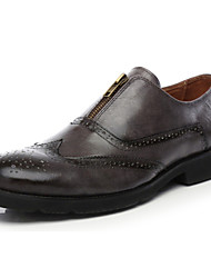 Men's Shoes Casual Leather Loafers Black/Taupe