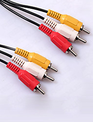 1.2M/4FT 3RCA to 3RCA Plug Male to Male Audio Video DVD HDTV AV Cable Adaptor Connect Data Cable
