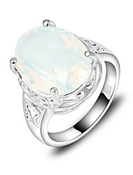 Classic Family Gift Fire Oval Moonstone Gem 925 Silver Statement Rings For Wedding Party Daily Casual 1pc