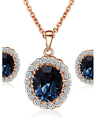 T&C Women's Elegant Cz Diamond Jewelry 18K Rose Gold Pated Blue Sapphire Crystal Pendants Necklaces Earrings Sets