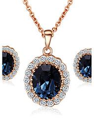 t&c elegante 18k joyería de diamante de la CZ de la mujer en oro rosa cipó colgantes de cristal de zafiro azul collares pendientes