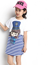Girl's  Fashion Leisure  Stripe  Short Sleeve 2 Pieces Clothing Sets