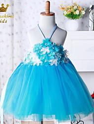 Girl Blue Tulle With Flower Ballerina Inspired Dress