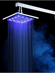 "Color Changing Rainfall Shower Head 8""Square Temperature Sensor LED Light Celling &Mounted Head"