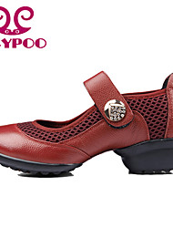 Non Customizable Women's Dance Shoes Dance Sneakers/Modern Leather/Synthetic Chunky Heel Black/Red