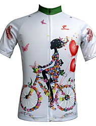 JESOCYCLING Cycling Jersey Women's Short Sleeve Bike Breathable Quick Dry Ultraviolet Resistant Front Zipper Back Pocket Jersey Tops100%