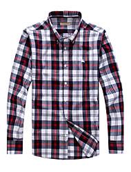 Men's Long Sleeve Shirt , Cotton Casual/Work/Formal/Plus Sizes Plaids & Checks