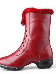 Non Customizable Women's Dance Shoes Modern Leather Chunky Heel Black/Red