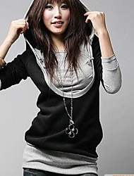 Women's Casual/Daily Simple All Seasons T-shirt,Solid Long Sleeve Black Cotton Medium