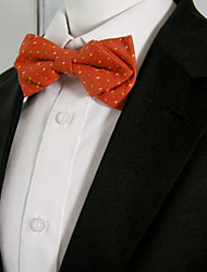 Men's Orange Red Multicolor Dots Bow Tie Pre-tied Dress Wedding Blend Ajustable SilkBlend Wedding