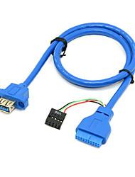 montar única porta USB 3.0 parafuso fêmea Tipo painel à placa-mãe 20pin&2.0 cabo de 9 pinos 40 centímetros