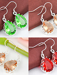 artistique ami cadeau goutte verte quartz rouge morganite précieuses argent 925 boucles d'oreilles pour la noce quotidiennes 1pairs de