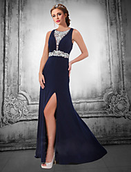 Formal Evening Dress A-line V-neck Floor-length Chiffon with Beading