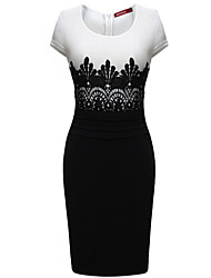 Women's Casual Round Short Sleeve Dresses (Cotton Blend)