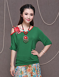 Women's Red/Black/Green T-shirt , One Shoulder Short Sleeve Embroidery