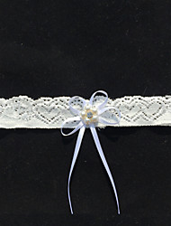 Garter Lace Bowknot/Imitation Pearl/Rhinestone Ivory
