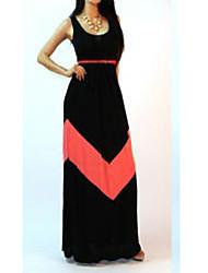 Women's Sexy Casual Maxi Plus Sizes Stretchy Sleeveless Maxi Dress (Cotton)