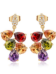 XM Women Fashion Gold Plating Color Grape In Zirconium Stud Earrings