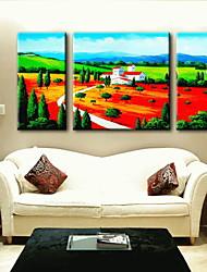 живопись маслом украшения абстрактный пейзаж ручной росписью холст с натянутой в рамке - набор из 3