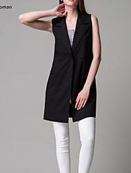 Women's Fashion Work Micro-elastic Sleeveless Long Vest (Cotton Blends)