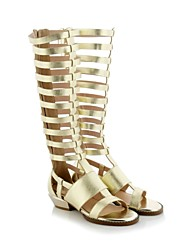 Women's Shoes Leather Chunky Heel Slingback/Gladiator Sandals Party & Evening/Dress Silver/Gold