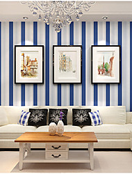 Contemporary Wallpaper Blue Stripe 0.53m*10m Wall Covering Non-woven Paper Wall Art