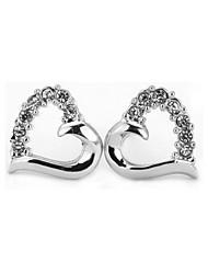 T&C Women's Sweety Crystal Hollow Heart Stud Earrings 18K White Gold Plated Cz Diamond Vintage Jewelry
