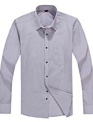 2015 Business Casual Long Sleeve Turn-down Collar Brown Grey Striped Men Dress Shirt (2103)