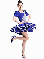 Justaucorps gymnastiques / Robes / Tutu(Rouge / Bleu Royal,Paillété / Tulle / Fibre de Lait,Flamenco / Danse latine / Danse de Salon /
