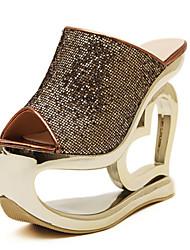 Women's Shoes Fabric/Glitter Platform Peep Toe/Platform/Open Toe Sandals Casual Silver/Gray/Bronze