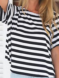 Women's Striped/Solid Black/Gray T-shirt , Round Neck Short Sleeve Backless
