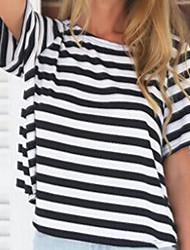T-Shirt Da donna Schiena scoperta Rotonda Manica corta Cotone