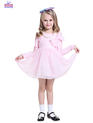Children Spring Girls Fashion Casual Big Bow Lace Long Sleeve Dress Clothes