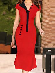 женская старинная v Кнопка образным вырезом платья, хлопок смесей красный Bodycon / случайный / партии / работы