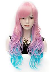 travamento do olho colorido rosa azul ondulado longo peruca de cabelo encaracolado partido