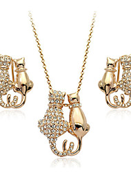 HKTC Lovely 18k Rose Gold Plated Austria Crystal Kitty Cat Pendant Necklace and Earrings Jewelry Sets