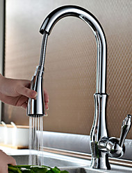 Contemporary Chrome Finish One Hole Single Handle Pull-down Kitchen Faucet