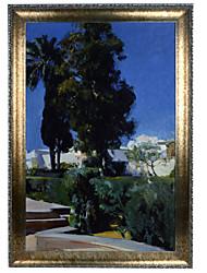 Sorolla and Bastida, Joaquin (Valencia 1863 - 1923 Madrid) - Corner of the Garden Alcazar in Seville Framed Canvas Print