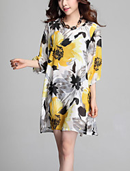Women's Red/Yellow Dress , Casual ½ Length Sleeve