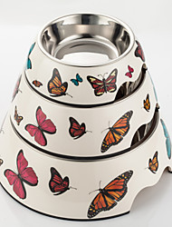 Butterfly Print Melamine Bowl with Stainless Steel Dog Dish for Dogs & Cats (Assorted Colors)