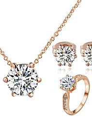 T&C Women's Classic 18K Rose Gold Plated with 6 Prongs Simulated Diamond Stone Pendant Necklace Earrings Ring Set