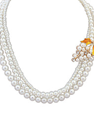 European Style Elegant Grape Leaf Pearl Necklace