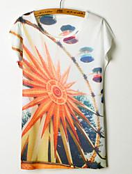 High Quality Summer Tops Women's Print Regular T-shirt (Cotton Blends)