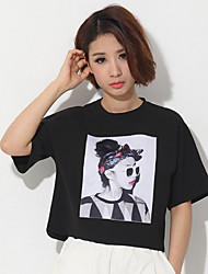 T-Shirts ( Algodão/Linho ) MULHERES - Casual Redondo - Manga Curta