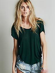Öppen rygg Kortärmad T-shirt Kvinnors Rund hals Bomull