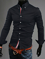 Men's Casual/Work/Formal Pure Long Sleeve Regular Shirts (Acrylic/Cotton Blends/Lycra)