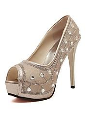 Women's Shoes Faux Leather Stiletto Heel Peep Toe/Platform Sandals Casual Silver/Gold